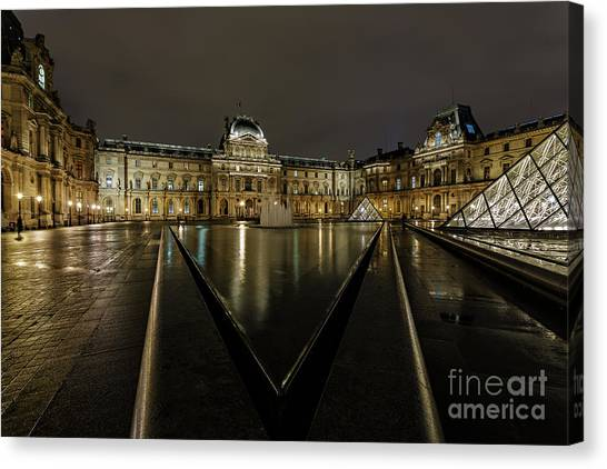 Louvre Pyramid And Pavillon Richelieu Canvas Print by Rostislav Bychkov