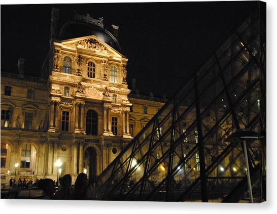 Louvre With Pyramid - Nite Canvas Print by Jacqueline M Lewis