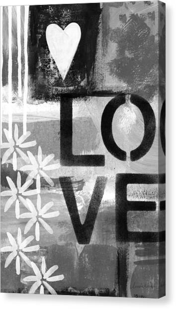 Heart Canvas Print - Love- Abstract Painting by Linda Woods