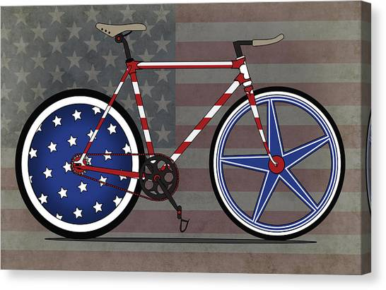 Bicycle Canvas Print - Love America Bike by Andy Scullion