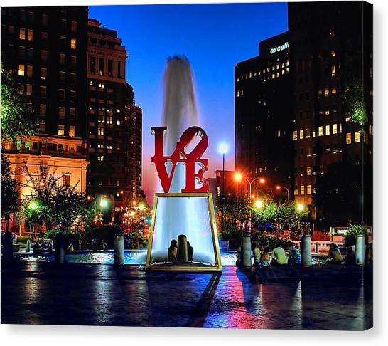 Philadelphia Canvas Print - Love At Night by Nick Zelinsky
