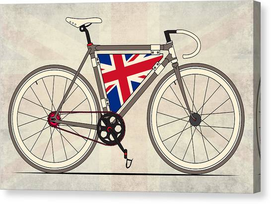 Cycling Canvas Print - Love Bike Love Britain by Andy Scullion