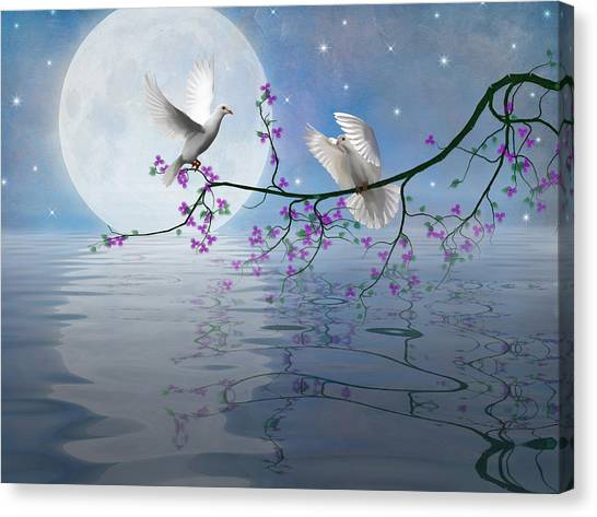 Love Birds By The Light Of The Moon-2 Canvas Print