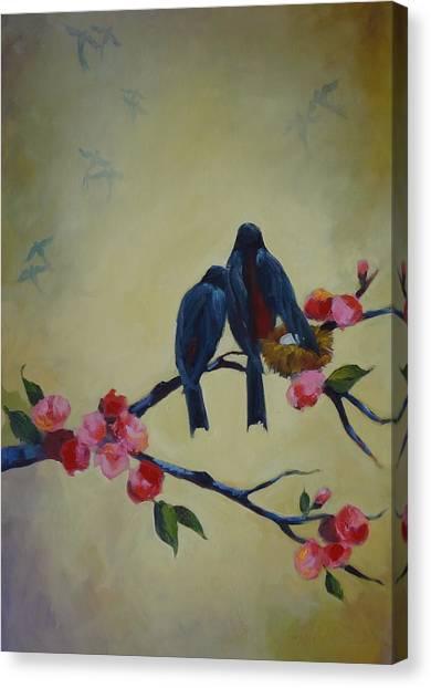 Love Birds Empty Nest Canvas Print by Kelley Smith