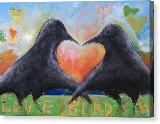 Lovebirds Canvas Print - Love Birds by Mary Medrano