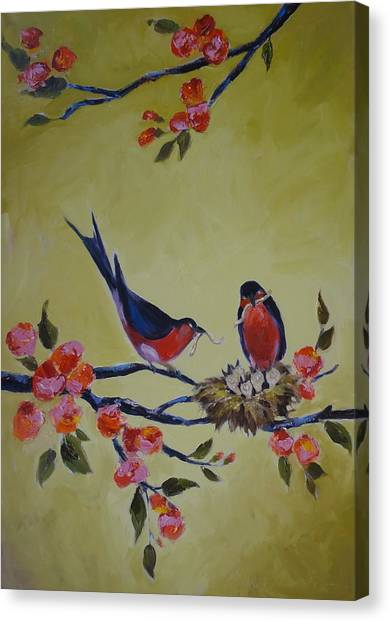 Love Birds Nesting Canvas Print by Kelley Smith