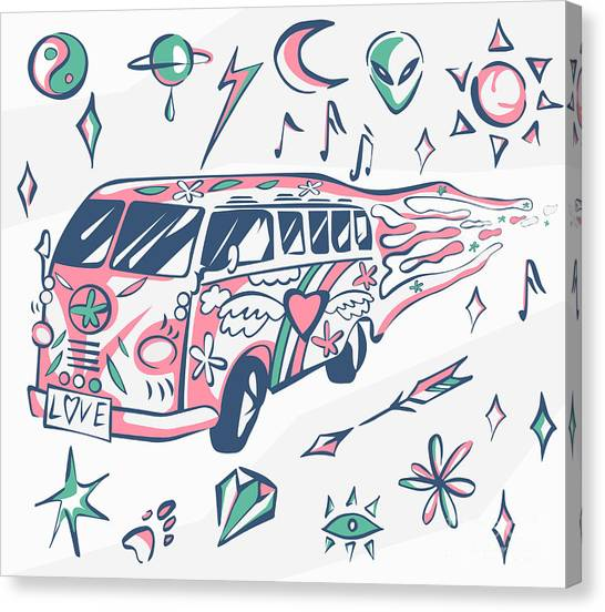 Symbols Canvas Print - Love Bus Vector Poster. Hippie Car by Inamel