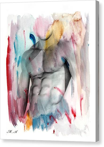Bodybuilder Canvas Print - Love Colors  by Mark Ashkenazi
