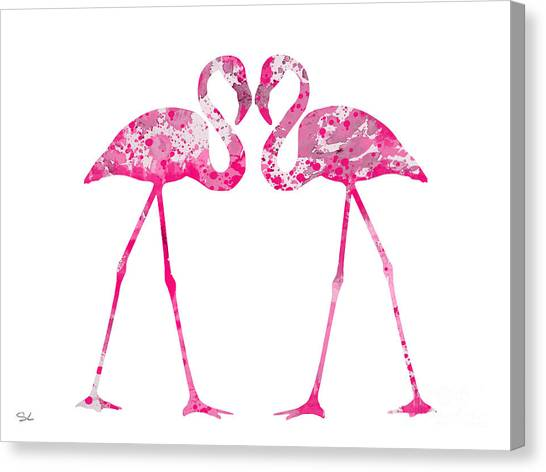 Flamingos Canvas Print - Love Flamingos by Watercolor Girl