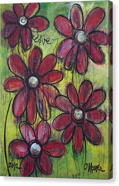 Love For Five Daisies Canvas Print