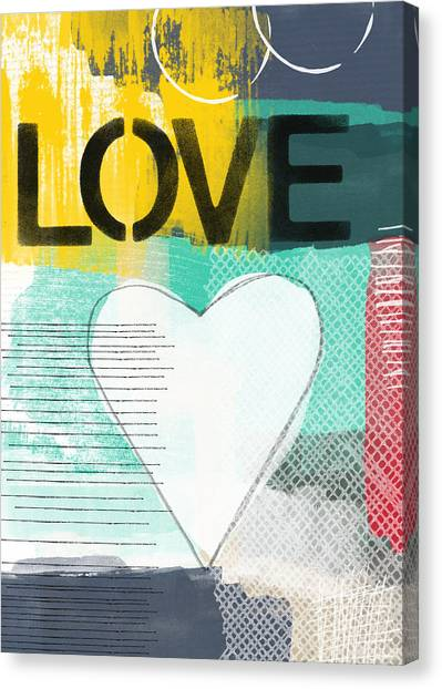 Anniversary Canvas Print - Love Graffiti Style- Print Or Greeting Card by Linda Woods