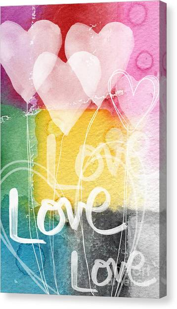 Balloons Canvas Print - Love Hearts by Linda Woods