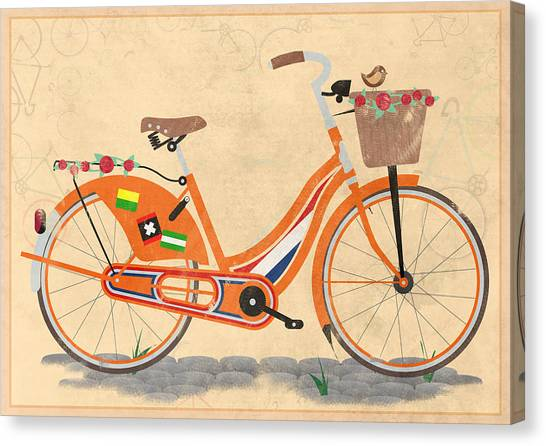 Cycling Canvas Print - Love Holland Love Bike by Andy Scullion