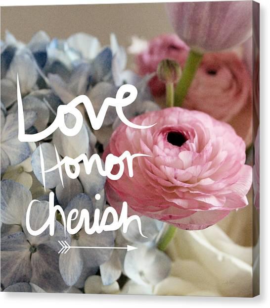 Wedding Canvas Print - Love Honor Cherish by Linda Woods