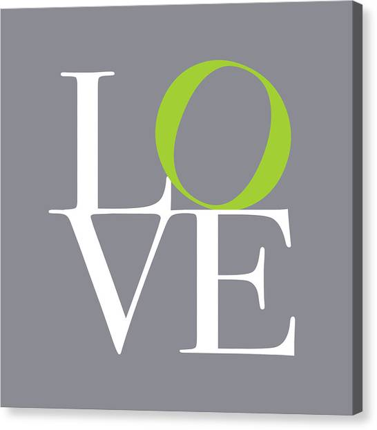 Anniversary Canvas Print - Love In Grey With A Lime Twist by Michael Tompsett