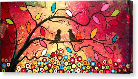 Love In The Air With Flowers Everywhere Canvas Print