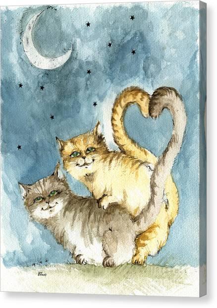 Sex Kitten Canvas Print - Love In The Moonlight by Angel Ciesniarska