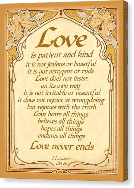 Love Is Patient - Gold Art Nouveau Style Canvas Print