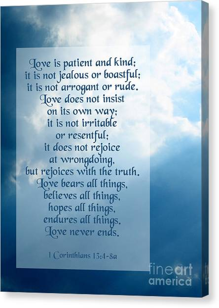 Bible Verses Canvas Print - Love Is Patient - Sky Photo by Ginny Gaura
