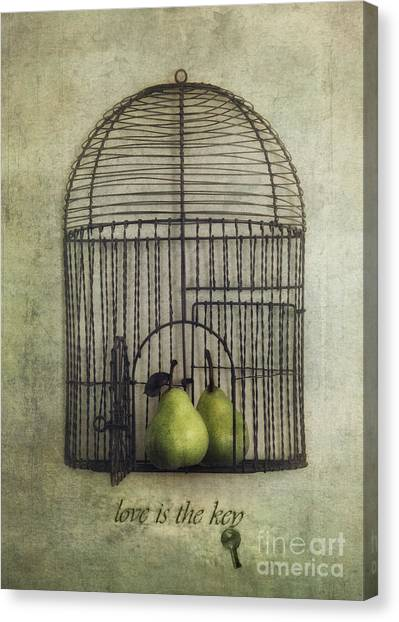 Surrealism Canvas Print - Love Is The Key With Typo by Priska Wettstein