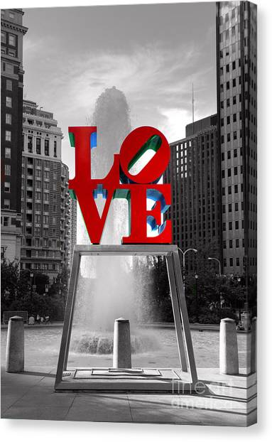 Philadelphia Phillies Canvas Print - Love Isn't Always Black And White by Paul Ward