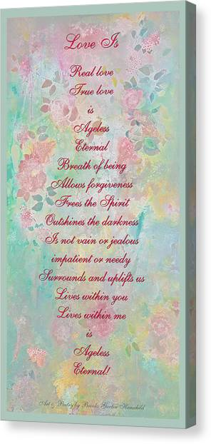 Love Is...2 - Original Art And Poetry - Image And Text Canvas Print