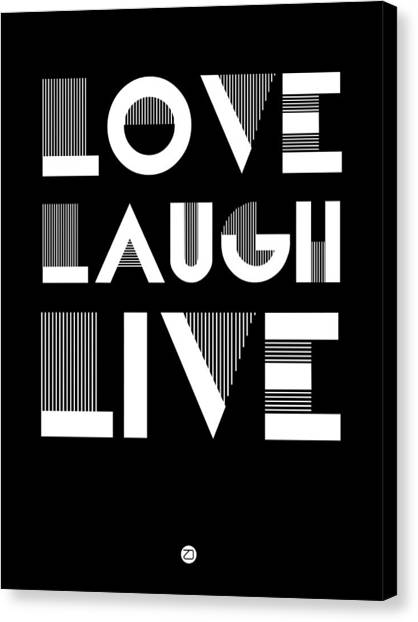 Quote Canvas Print - Love Laugh Live Poster 2 by Naxart Studio