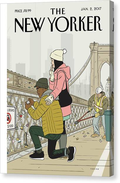 Lock Canvas Print - Love Locks by Adrian Tomine