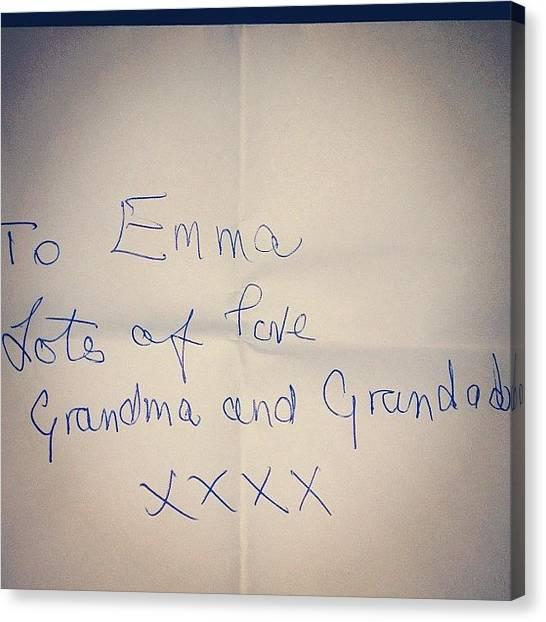 Grandma Canvas Print - Love My Grandmas Writing #grandma by Emma Carpenter