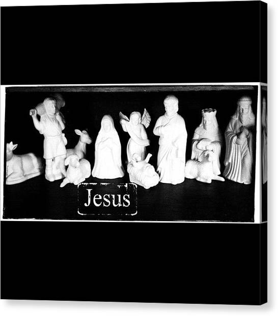 Holidays Canvas Print - Love My Nativity Set. My Mom Gave To Me by Teresa Mucha