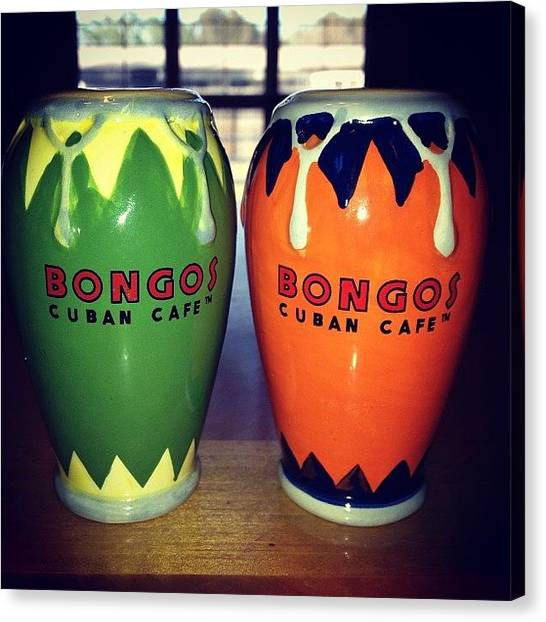 Salsa Canvas Print - Love My Salt & Pepper Shakers! #bongos by E  Marrero