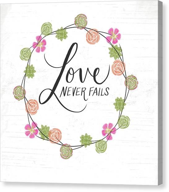 Wedding Day Canvas Print - Love Never Fails by Katie Doucette