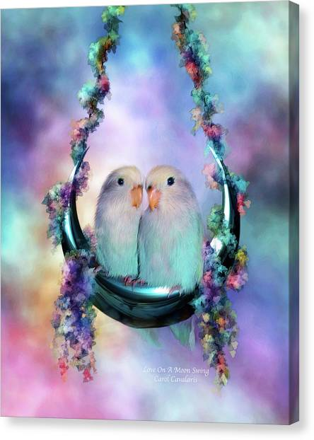 Lovebirds Canvas Print - Love On A Moon Swing by Carol Cavalaris