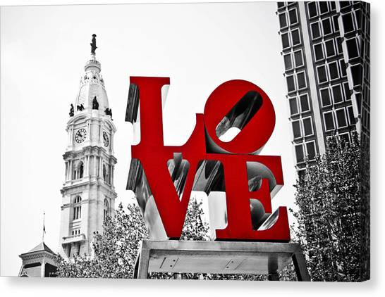 Love Park And City Hall Bw Canvas Print