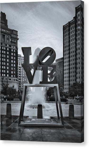 Love Park Bw Canvas Print