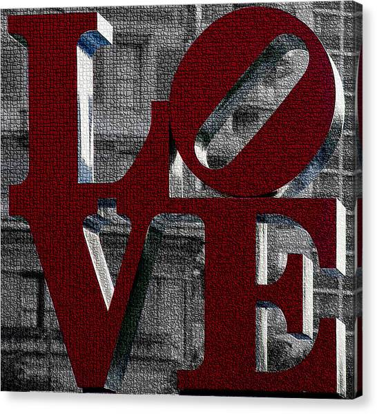 Love Philadelphia Red Mosaic Canvas Print