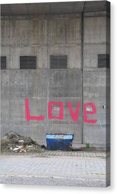 Graffiti Canvas Print - Love - Pink Painting On Grey Wall by Matthias Hauser