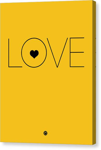 Lovers Canvas Print - Love Poster Yellow by Naxart Studio