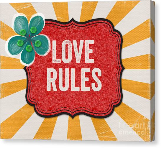 Stripe Canvas Print - Love Rules by Linda Woods