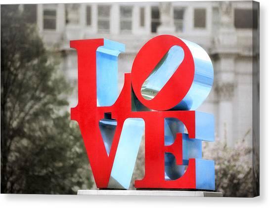 Love Sculpture - Selective Color - Philadelphia Canvas Print