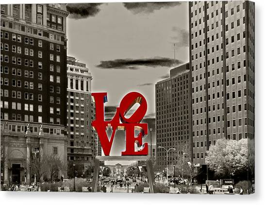 Philadelphia Phillies Canvas Print - Love Sculpture - Philadelphia - Bw by Lou Ford