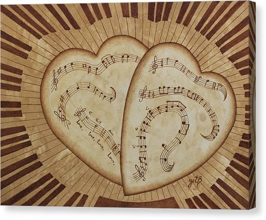 Canvas Print featuring the painting Love Song Of Our Hearts by Georgeta Blanaru