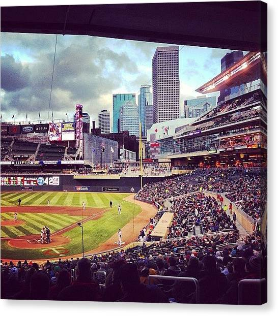 Minnesota Twins Canvas Print - Love This Place! Even When It's Cold by Jen Hernandez