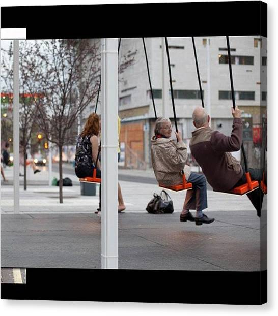 Swing Canvas Print - Love This... #swings At #bus Stops In by Robin Mead