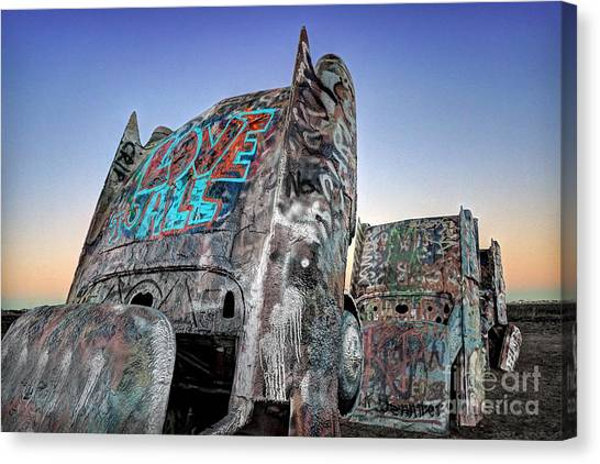 Love To All Cadillac Ranch Canvas Print