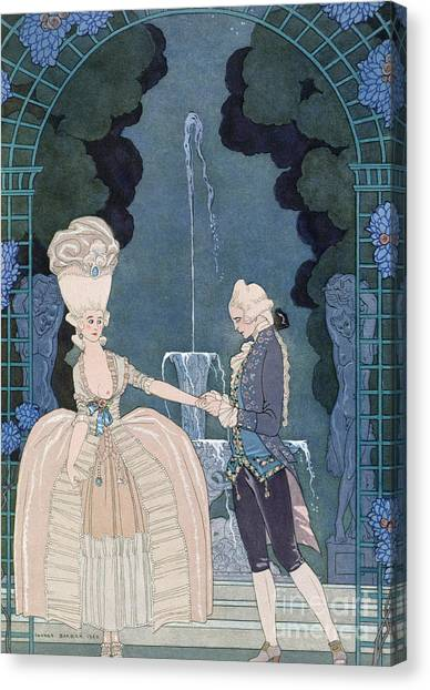Confession Canvas Print - Love Under The Fountain by Georges Barbier