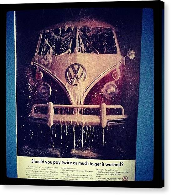 Vw Bus Canvas Print - Love Vw Ads🚌 #vw#bus#vintage#ads by Vanessa Aguilar