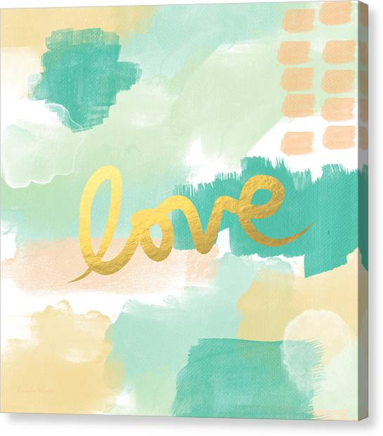 Wedding Canvas Print - Love With Peach And Mint by Linda Woods