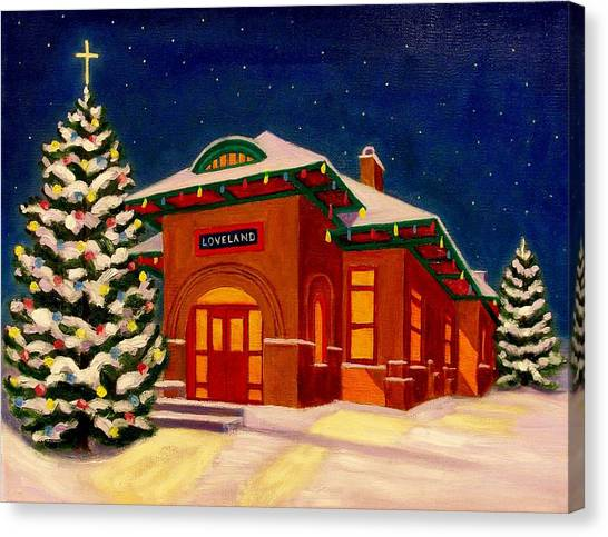 Loveland Depot At Christmas Canvas Print
