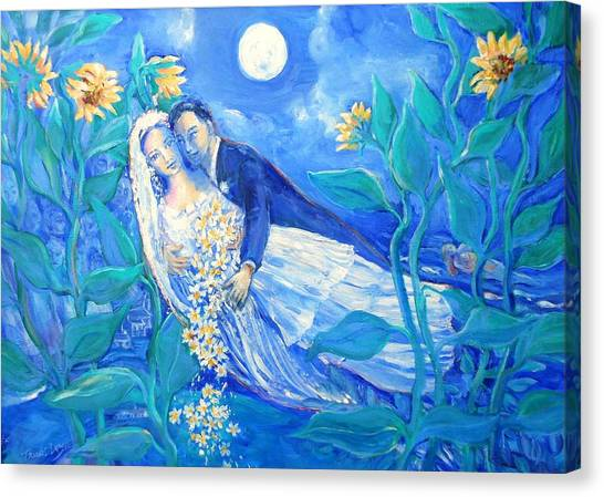 Wedding Bouquet Canvas Print - Lovers And Sunflowers  After Marc Chagall  by Trudi Doyle